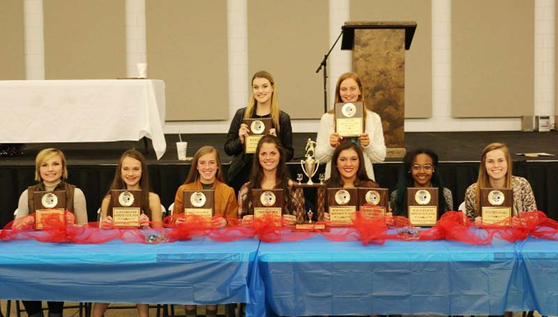 Daily Leader / Photo submitted / Brookhaven Lady Panthers receiving special awards at Tuesday night's Ole Brook Soccer Banquet were (seated, from left) Carlie Reeves, Hustle Award; Madi Miller, Most Improved Offense; Kat Wallace, Most Valuable Offense, Macy Ziskin, Most Valuable Player; Emily Mezzenares, Scholastic Award, Most Valuable Defense; Artia Robinson, Most Improved Defense; Leona Smith, Coaches Award; (back) Saylor Smith, Rookie Award; Bree Allen, Junior Varsity Most Valuable Player. Not Pictured: Joey Davis, Scholastic Award.