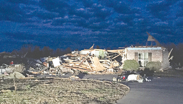Photos by Alex Jacks / The scene on Sandhill Road in the Stronghope community of Copiah County, where multiple homes were destroyed, was littered with fragments of houses Tuesday evening.