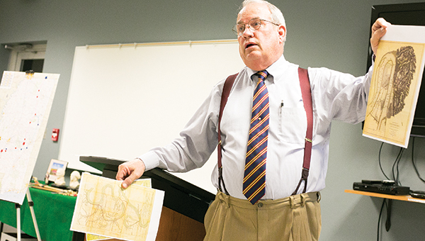 Photos by Kaitlin Mullins / Local attorney and history scholar Joe Fernald describes hand-drawn maps from the Civil War era in his talk about Grierson's Raid, the only Civil War action Brookhaven experienced.