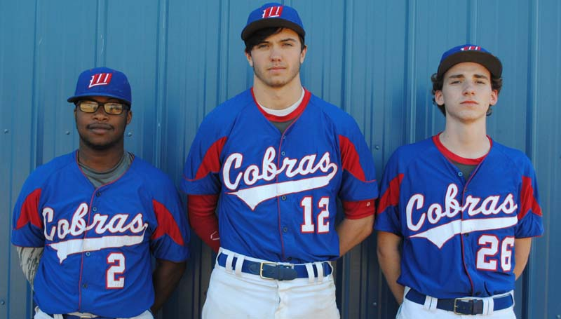 Daily Leader / Marty Albright / Representing the Wesson Cobras in the 2016 baseball season are seniors (from left) Davion Frye, Bolon Tadlock and Max Daughdrill.