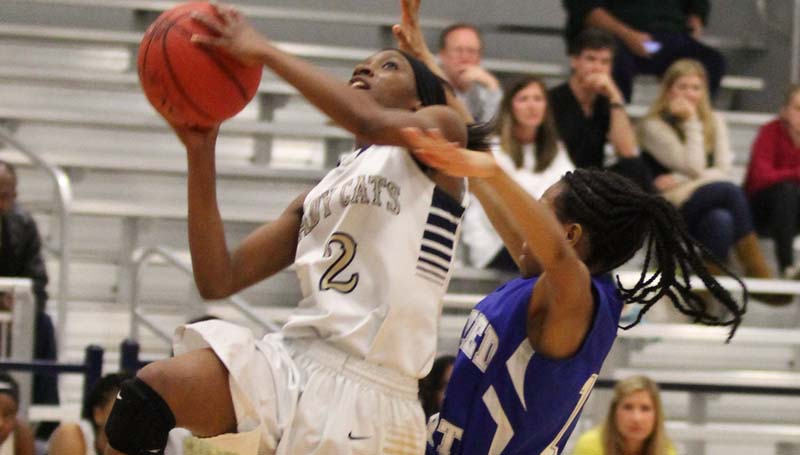 Daily Leader / Amy Rhoads / Bogue Chitto's Zariah Matthews (2) powers to the basket for an easy layup against Sacred Heart Monday night in girls' Class 1A state playoff action.