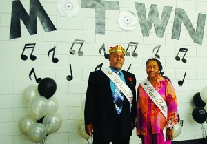 Senior Adult Prom King Jessie Character Jr. and Prom Queen Annie Rauls pose for a photo Monday.