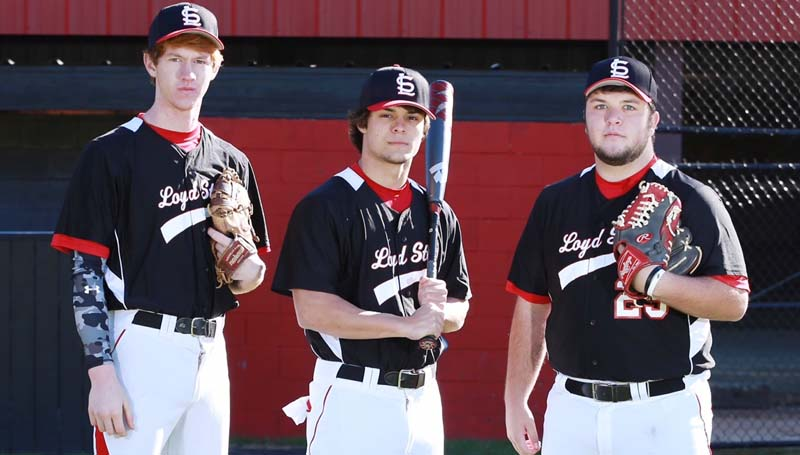 Daily Leader / Photo submitted / Loyd Star baseball seniors (from left) Levi Redd, Lamar Lang and Lane Rogers are looking forward to the 2016 baseball season.