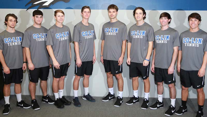 Co-Lin Media / Members of the Wolfpack tennis team are from left, Will Pennington of Summit, Cole Moak of Wesson, Skyler Moody of Lake Charles, Louisiana, Cory Alderman of Brookhaven, Matteusz Kimelski of Piotrkow, Poland, Braxton Hinton of Brookhaven, Hayes Thompson of Summit, and Drake Nelson of Monticello.