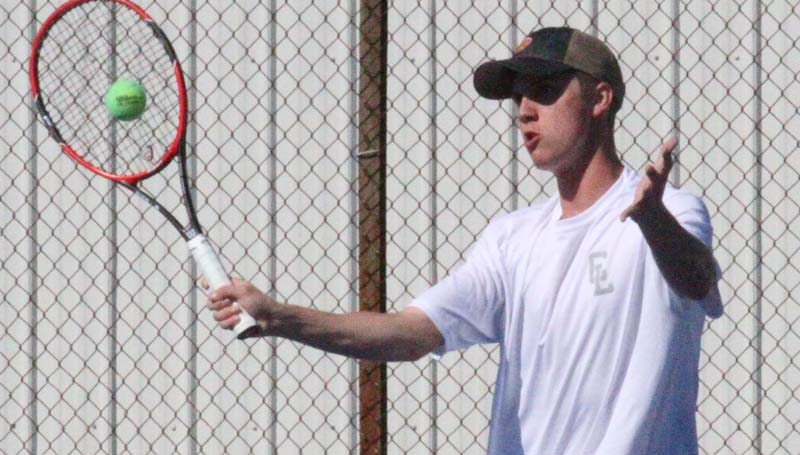 Co-Lin Media / Co-Lin's Cory Alderman, of Brookhaven, returns a serve in JUCO mens' tennis action against Northwest.