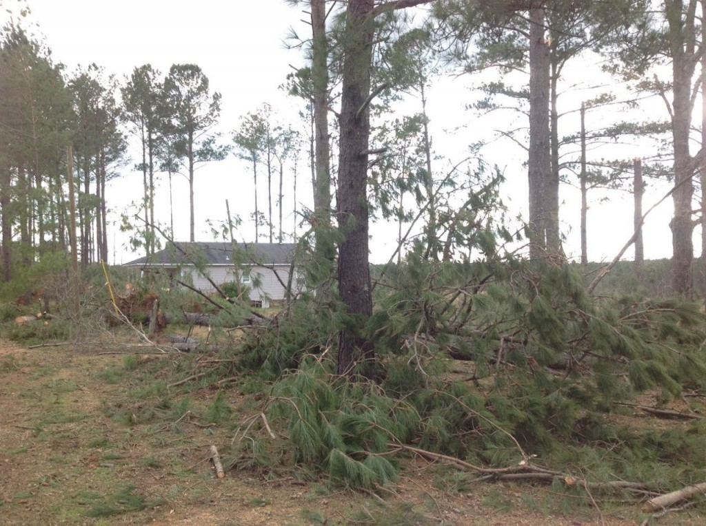 Photo of the damage near Bogue Chitto courtesy of the National Weather Service Jackson