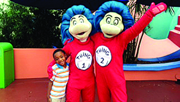 Photo submitted / Dominick Fields meets Thing 1 and Thing 2 during his recent trip to Orlando, Florida.