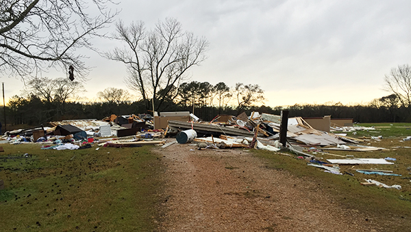 A mobile home was destroyed on Jackson-Liberty Road.