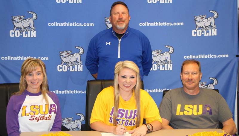 Co-Lin Media / Natalie Davis / Copiah-Lincoln Community College third baseman Brittany Barbay (seated center) has signed a letter of intent to play softball at LSU-Alexandria. Pictured with Barbay are her parents, Kathy and Tab Barbay of Zachary, Louisiana, and Lady Wolves head coach Allen Kent (standing).