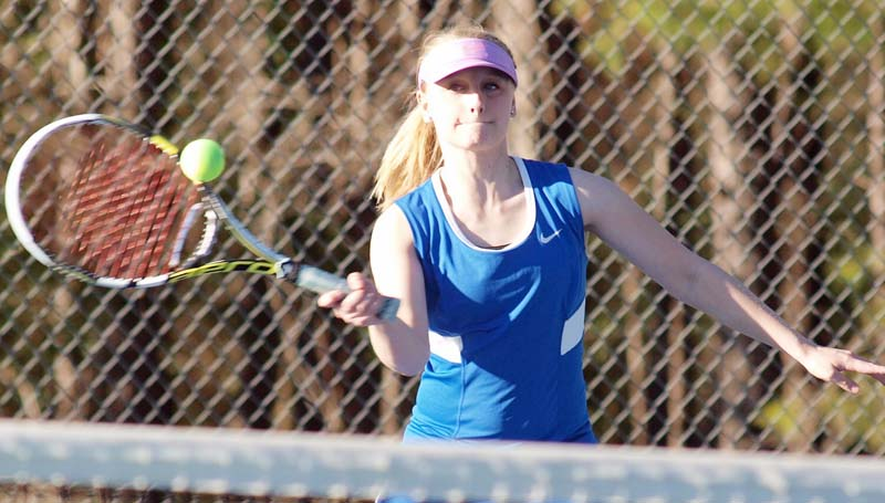 Daily Leader / Tracy Fischer / Wesson's Maya Granger returns a serve in Mixed Doubles action Wednesday against Enterprise.
