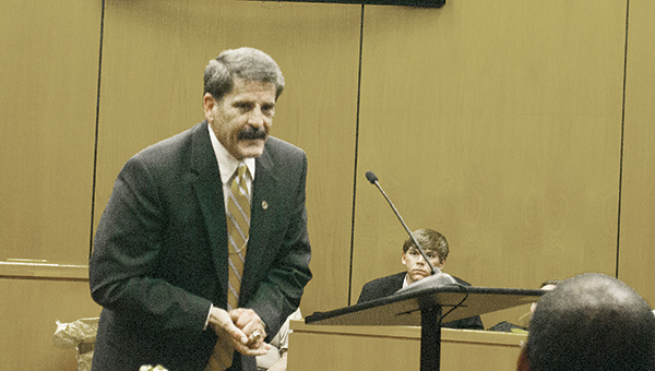 File photo / A lawyer addresses the jury in Lincoln County's Circuit Court during a 2015 trial. Through plea bargaining, very few cases actually make it to this stage.