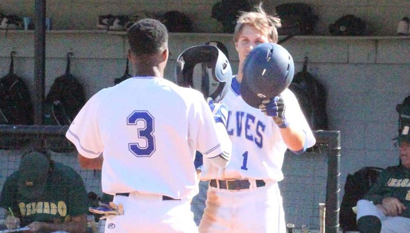 Co-Lin Media / Natalie Davis / Co-Lin's Kewan May (3) is greeted at home plate by teammate Austin Irby after hitting his first home run of the season.