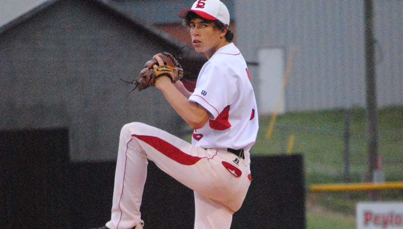 Daily Leader / Marty Albright / Loyd Star's Cade Hodges (6) prepares to deliver his pitch to Bassfield in Tuesday night doubleheader baseball action at Smith Field.