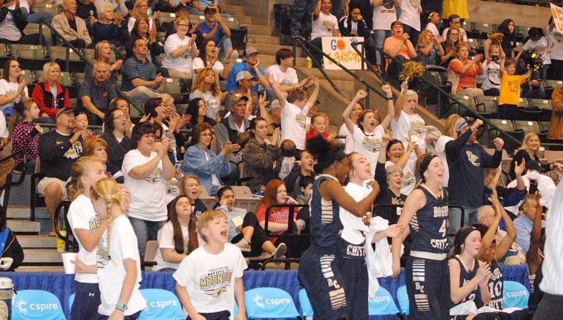Daily Leader / Marty Albright / The Bobcat Nation is ready to cheer on their Lady Cats as Bogue Chitto takes on Shaw in the girls' Class 1A State Championship today at the Jackson Coliseum.