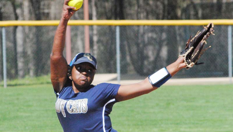 Daily Leader / Marty Albright / Bogue Chitto's Christian Black pitches the win in Monday softball action against West Lincoln.