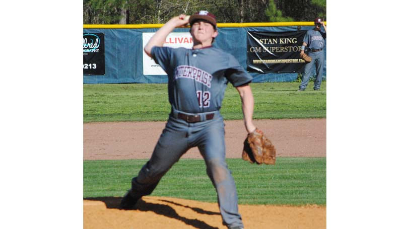 Daily Leader / Marty Albright / Enterprise's Tanner Waldrop prepares to deliver his pitch to Bogue Chitto in baseball action Monday.