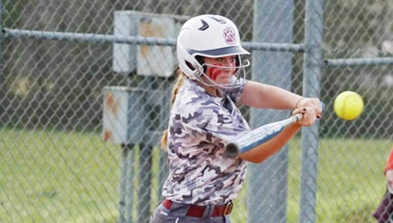 Daily Leader / Jana Harp / Lawrence County's Abbie Errington directed the Lady Cougars' offensive explosion with a double and a single.