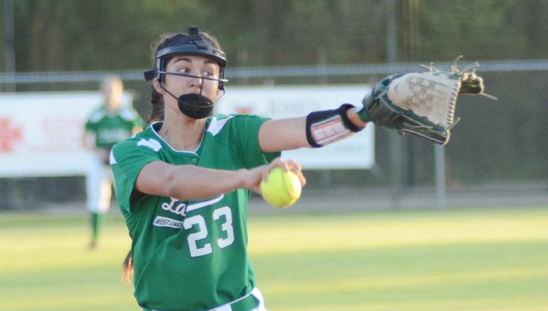 Daily Leader / Marty Albright / West Lincoln's Meagan Gerald pitched a one-hit shutout against the Salem Lady Wildcats Tuesday night.