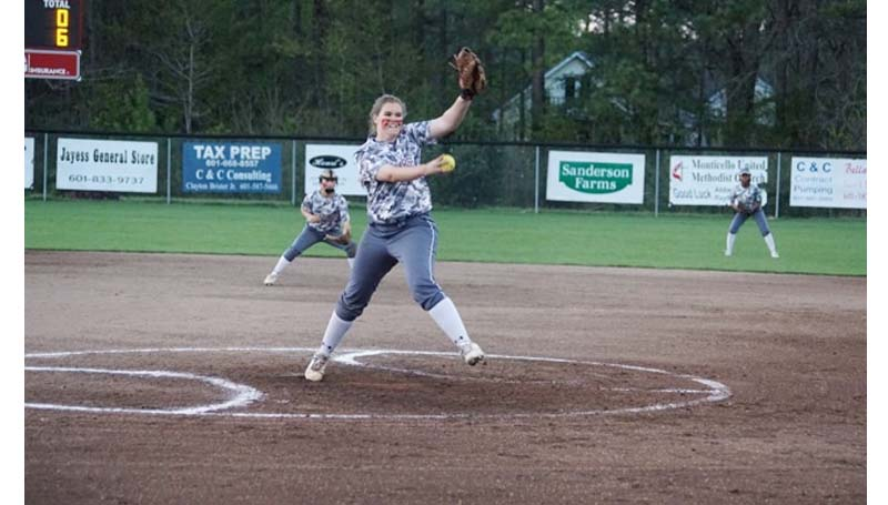 Daily Leader / Jana Harp / Lawrence County's Jordan Harp pitched a one hit shutout Tuesday night against Florence.