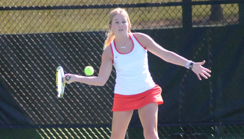 Daily Leader / Marty Albright / Brookhaven's Sarah Grace Evans was victorious in girls' singles action against Natchez.