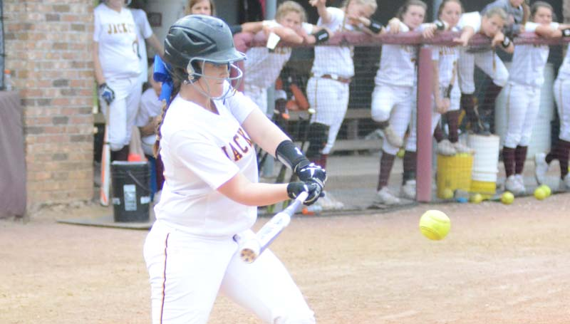 Daily Leader / Marty Albright / Enterprise's Kinsey Dahlin hits a game winning single against West Lincoln  Wednesday night.