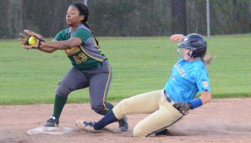 Daily Leader / Marty Albright / Salem's second baseman Zoie Bridges (23) secures the out at second just in time as Bogue Chitto's runner Reagan Kirkland (15) slides in.