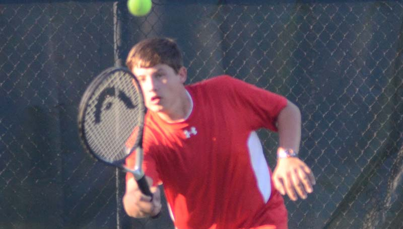 Daily Leader / Photo submitted / Loyd Star's Brantley Brister helps his teams capture a win in boys No. 1 doubles action against Pisgah.
