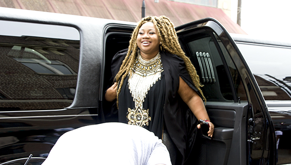 """Photos by Alex Jacks / Top four """"American Idol"""" contestant La'Porsha Renae visited McComb Saturday. The McComb native participated in a parade in her honor and performed a free concert on the corner of Main Street and Railroad Avenue. She expressed her gratitude for McComb's love and support during her musical journey."""