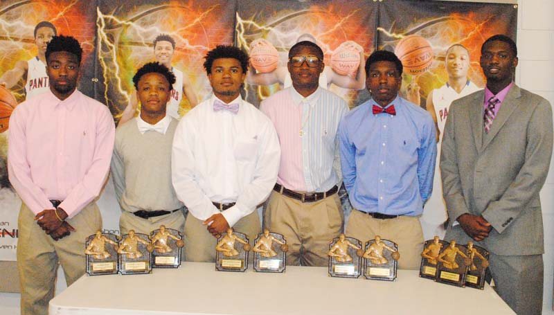 Daily Leader / Marty Albright / Brookhaven Panthers receiving special awards at Monday night's basketball banquet were (from left) Damarius Brooks, Panther Award, All-Region 6-5A; Danarius Gray, Sixth Man Award; Shon Blackwell, Best Defensive Player; Garrick Smith, Best Rebounder; Lazorian McNulty, Best Offensive Player, All-Region 6-5A; and Darrian Wilson, Scholastic Award, Best Leadership Award, All-Region 6-5A.