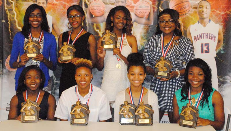 Daily Leader / Marty Albright / Brookhaven Lady Panthers receiving special awards at Monday night's basketball banquet were (from left, seated) Johnique James, Panther Award; Mya Washington, Most Valuable Offensive Player; Taylor Carter, Most Improved Player, All-Region 6-5A; Tamia Stallings, Best Rebounder; (standing) Arnancy Arnold, Scholastic Award; Asia Byrd, Hustle Award; Cheyenne Motley, Most Valuable Defensive Player; and Jada Henderson, All-Region 6-5A.