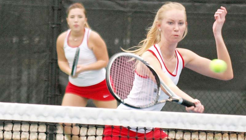 Daily Leader / Tracy Fischer / Brookhaven's Meredith Bozeman and Alice Ann Walker capture a win in Girls No. 1 Doubles action against Wesson Wednesday.