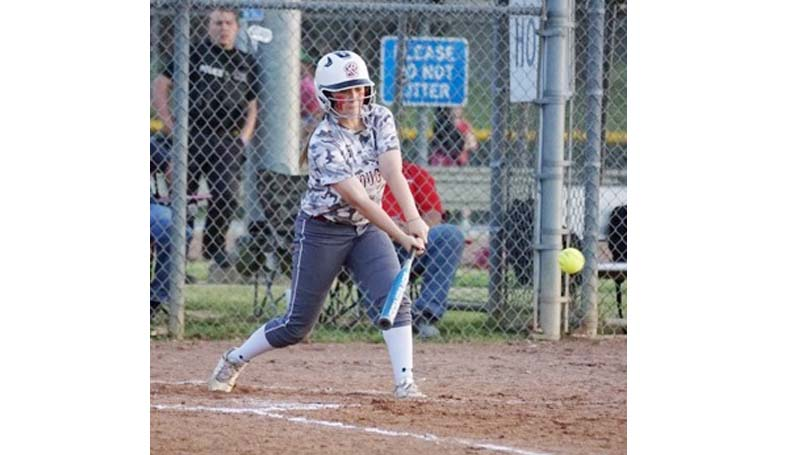 Daily Leader / Jana Harp / Lawrence County's Sydney Pevey (8) powered the Lady Cougars' hitting Tuesday against Richton.  Sydney was 4-4 at the plate with a home run, a double, two singles and had four RBI's.