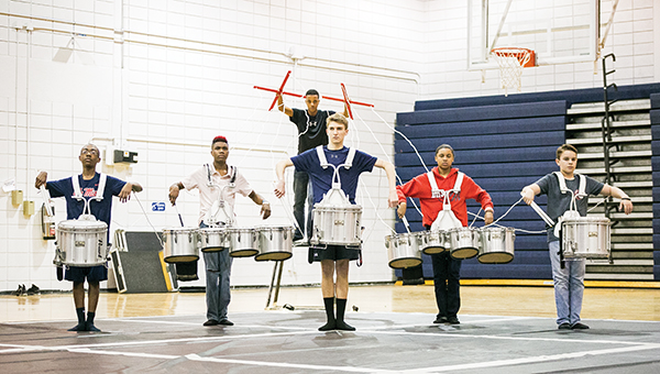 Members of the Brookhaven High School percussion team practice for their upcoming competition.