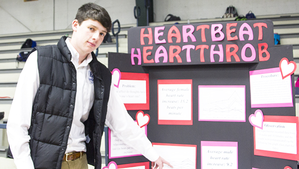 Photos by Alex Jacks / Colton Watson, a BA junior, won first place for his project. He tested whether a persons heart rate increased the name of a person they loved was mentioned.
