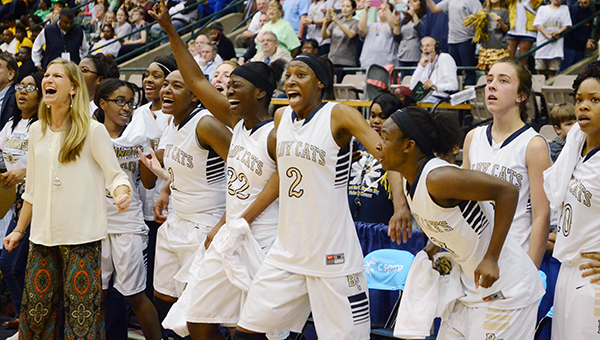 Bogue Chitto celebrates after winning the state title Thursday.