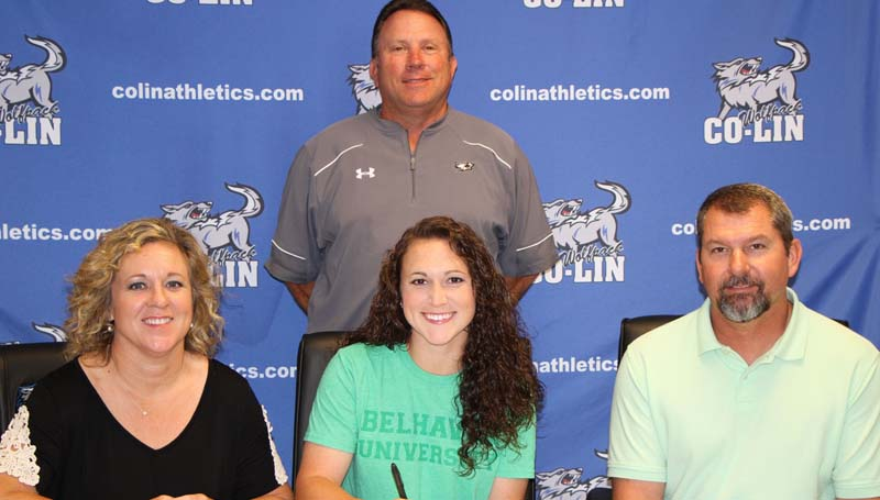 Co-Lin Media / Natalie Davis / Copiah-Lincoln Community College sophomore infielder Lauren Brashier has signed with the Belhaven University Lady Blazers. Brashier, a utility player from Laurel, has started every game this season at second base. Currently, she is second on the team in hits (45), fourth on the team in batting average (.437), tied for the lead in doubles (11), while only striking out four times. Brashier, a Heidelberg Academy product, was named Mississippi Association of Community and Junior College Second Team All-State her freshman year. Pictured with Brashier are her parents Nancy and Dwayne Brashier and Co-Lin head coach Allen Kent.