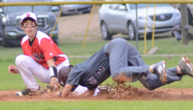 Daily Leader / Marty Albright / Enterprise's Trevor Freeman (2) slides into second base safely under the tag of Loyd Star shortstop Cade Hodges Friday night.