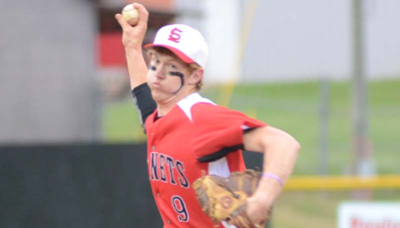 Daily Leader / Marty Albright / Loyd Star's senior Levi Redd prepares to deliver his pitch to Region 7-2A and Lincoln County rival Enterprise Friday night.