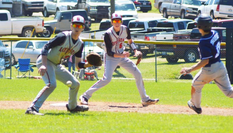 Daily Leader / Chris King / Loyd Star's second baseman Levi Redd prepares to tag out a St. Andrews runner at second base while shortstop Cade Hodges looks on.