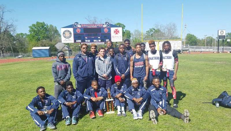 Daily Leader / Photo submitted / The Brookhaven Panthers' track and field team captured first place overall Tuesday as they hosted an Invitational at King Field. Members of the team are (kneeling, from left) Tre Newton, Wesley Calcote, Tray Murray, Darius Nelson, Kariunte Edwards, Tobias Williams, (standing) Davion Smith, Kieran Williams, Darius Calvin, Caleb McCreary, Garrick Smith, Norman Woodard, Tre Laird, Dedric Butler, Kenny Bellamy, Jessie Gilmore, Antonio Dillon and Adrian Lockwood.