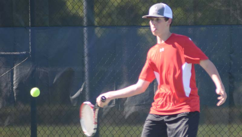 Daily Leader / Marty Albright / Loyd Star's Gavin Thomas captures a big win in boys' singles action against Natchez Cathedral Monday