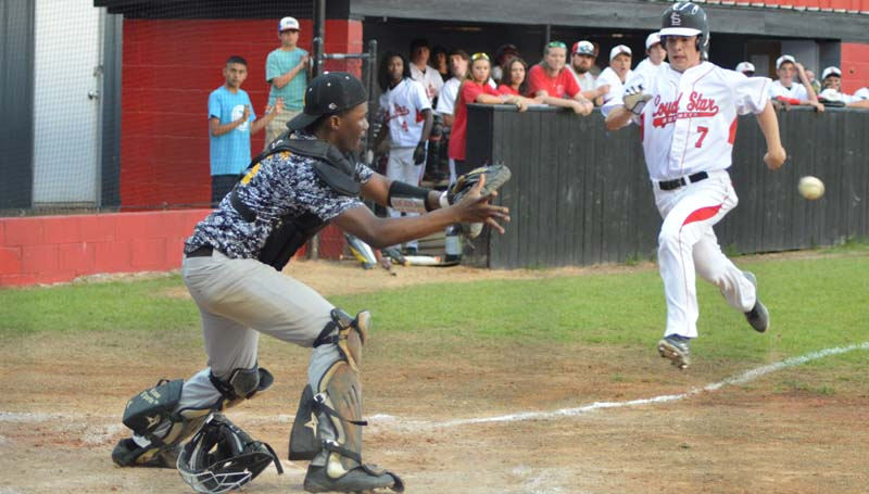 Daily Leader / Chris King / Loyd Star's Parker Flowers hustles to beat the ball to home plate Tuesday night at Smith Field.