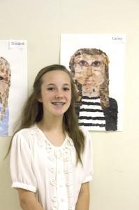Below, eighth grader Carley Craig stands with her mosaic self portrait.