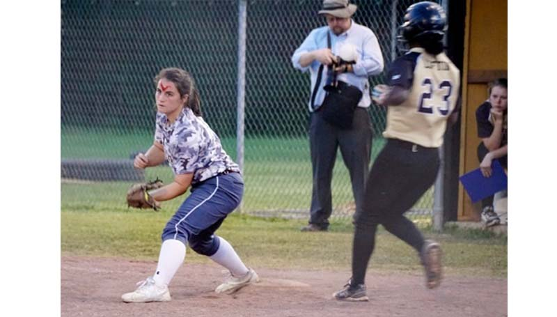 Daily Leader / Jana Harp Lawrence County first baseman Elizabeth Smith secures the out  against Mendenhall. Smith also had a productive night at the plate with four RBIs.