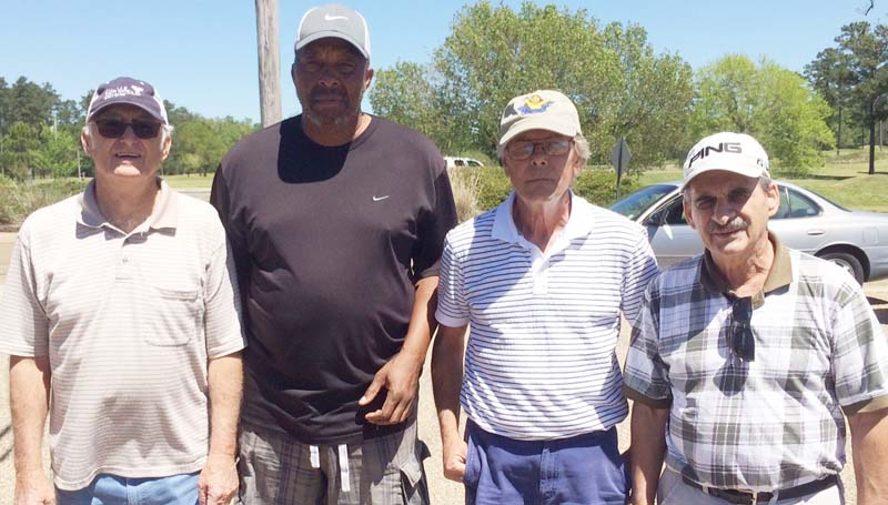 Daily Leader / Photo submitted / In Thursday's senior scramble at the Brookhaven Country Club, the team of (from left) Jerry Harper, Phillip Autman, Kenny Thornhill, and Gerald Liemeuix won with a score of 12 under par 58.