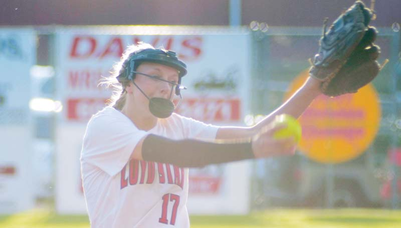 Daily Leader / Marty Albright / Loyd Star's Makenzie Smith prepares to deliver her pitch to West Lincoln Thursday night.