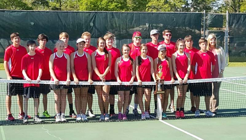 Daily Leader / Photo submitted / The Loyd Star Hornet netters captured the division crown in tennis after defeating West Lincoln. Members of the tennis team are (front row, from left) Kelsey Smith, Tessa Smith, Morgyn Brister, Lani Smith, Anna Thomas, Madisyn Brister, Ashlyn Locke, Caylee Yarborough, Brantley Brister; (back) Blayne Brister, Lee Thomas, Tucker Hoeniges, Bryson Brister, Will McCullough, Connor Crosby, Gavin Thomas, Reid Butler, Ryan Nevels and Coach Rhonda Hart.
