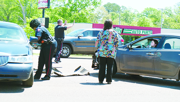 Photo by Aaron Paden / Brookhaven police respond to a collision Thursday on Hwy. 51. BPD received the call at 12:22 p.m. Officers said all parties refused treatment, and there were no serious injuries.
