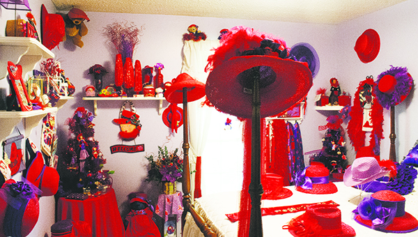 Photo by Aaron Paden / The Red Hat Room at in Linda Tucker's home — a collection of gifts years in the making.