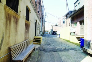 Photos by Aaron Paden /  Seating and lights have already been placed in the alley behind Lemanedi Arts and Interiors, but there is still plenty of work left to be done.